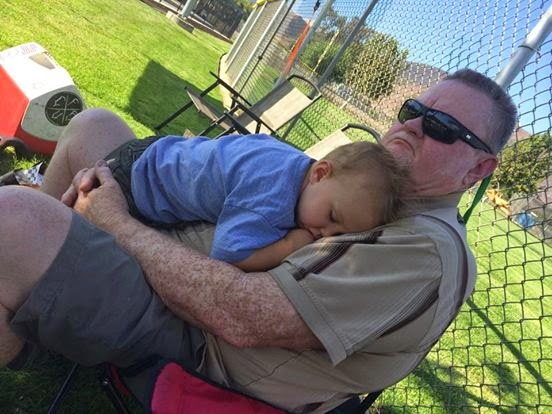 Poor Reef was not feeling 100%; so he took a nap on his Opa.