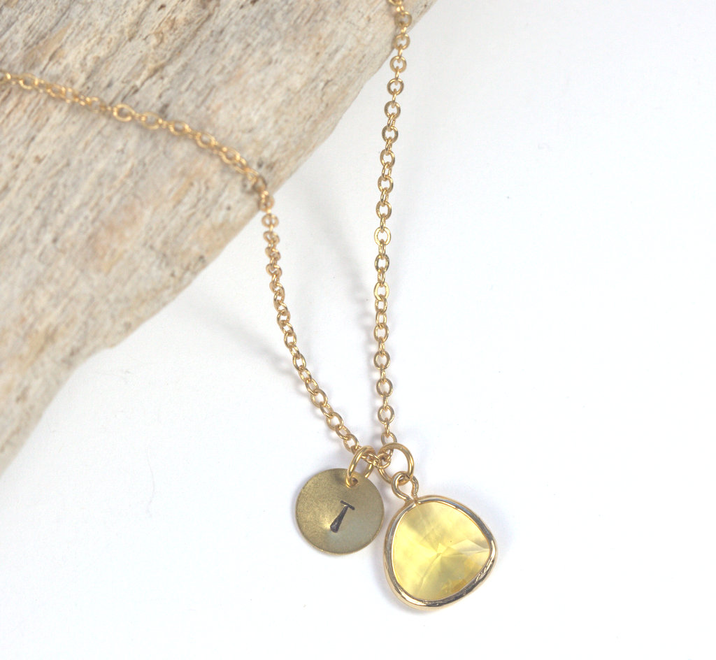 Personalized Gold Necklace with Topaz Stone