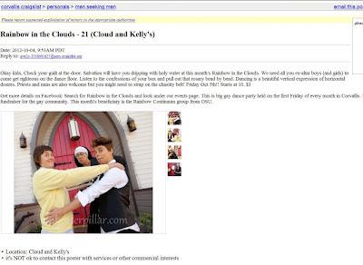 Craigslist screen shot in men seeking men ads to promote the catholic