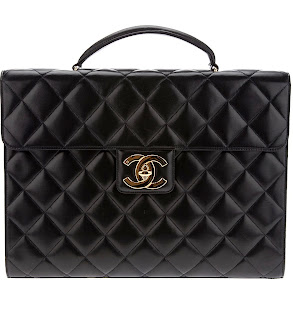 Vintage 1990's Chanel black quilted briefcast bag with gold hardware