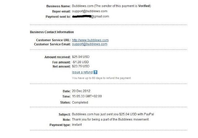 Bubblews, Bukti pembayaran, Payment proof