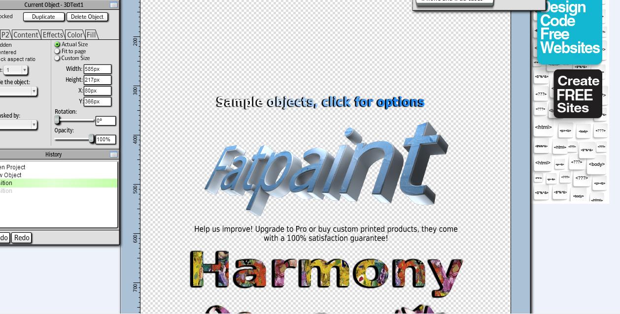 الان قم بتصميم أسمك بشكل ثلاثي الأبعاد وبدون برامج بطرق كثيرة مجانا  Fatpaint