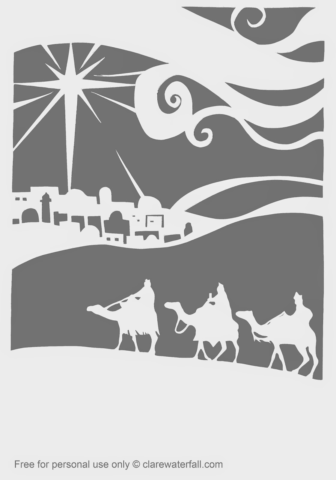 Papercut template of the Three Kings by Clare Waterfall