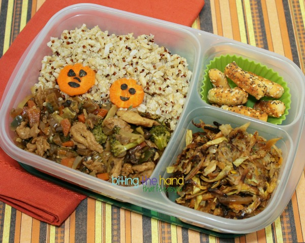 Halloween Jack-O-Lantern Bento Full of Leftovers!