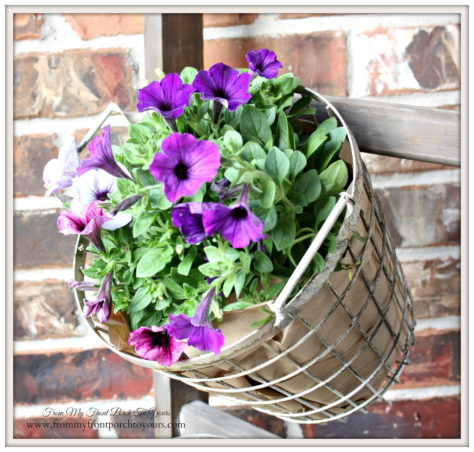 Wire Baskets Used As Planters-Design Ingenuity Event- Decor Steals-From My Front Porch To Yours