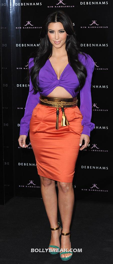 Kim Kardashian Purple Orange Dress - (2) - Celebrity Pictures in Neon Dresses - Bollywood, Hollywood