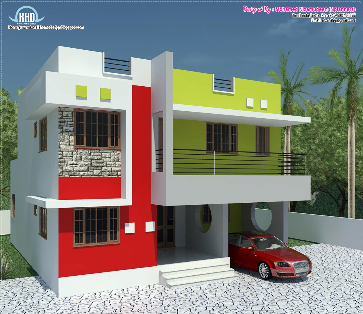 Kerala home design and floor plans 1484 south for Minimalist house kerala