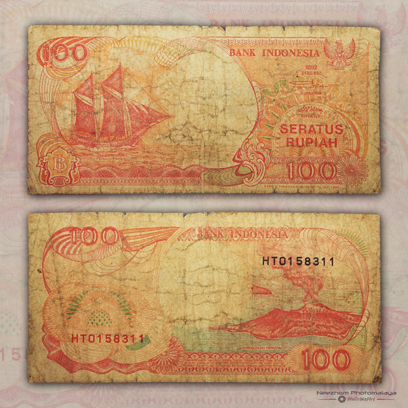 Wang kertas Indonesia 100 Rupiah tahun 1992