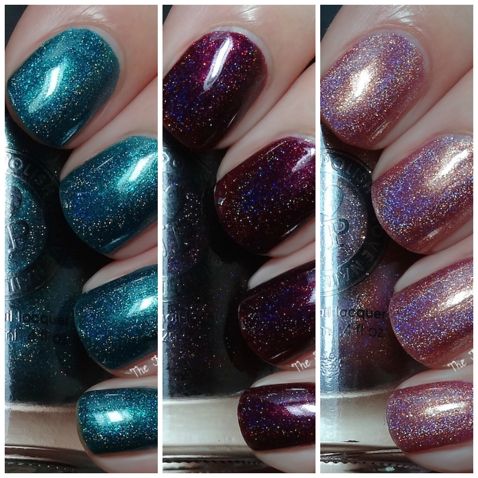 ILNP Fall Collection Holo Swatches - Champange Blush, Fall Semester & Black Orchid
