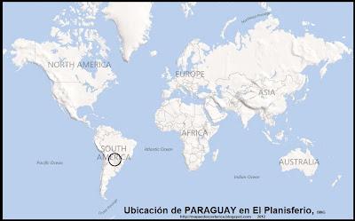 Ubicación de PARAGUAY en El Planisferio, BING