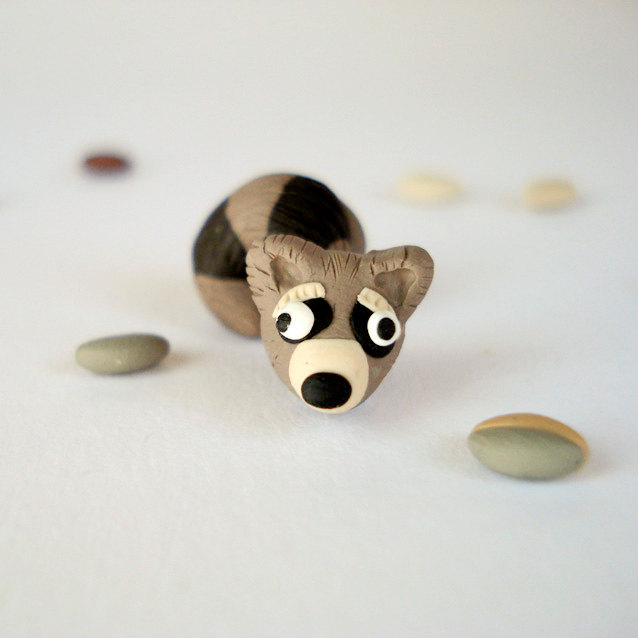 Raccoon Hiding in Your Ears Post Earrings - Little Creatures