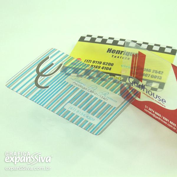 Cartão de Visita de PVC Transparente
