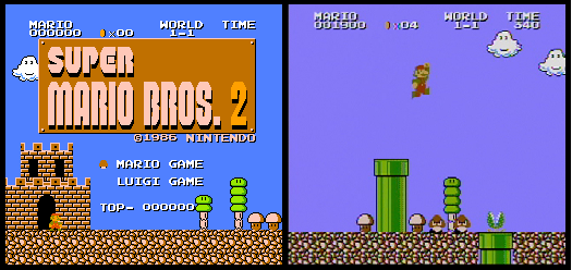 Title screen of Super Mario Bros.: The Lost Levels and screenshot of gameplay