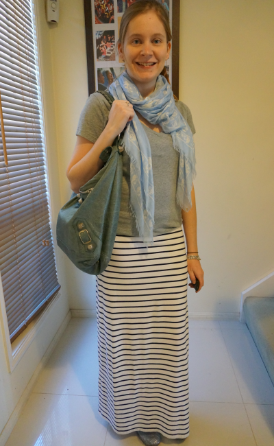 Daily outfit blogger alexander mcqueen skull scarf grey tee stripe maxi skirt