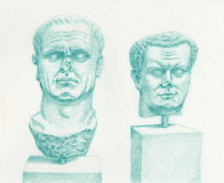 Roman bust Green pencil drawing