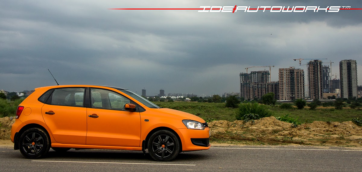 Vw Polo Matte Orange Wrap With Gloss Black Roof Ide