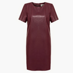 Burgundy PU Dress