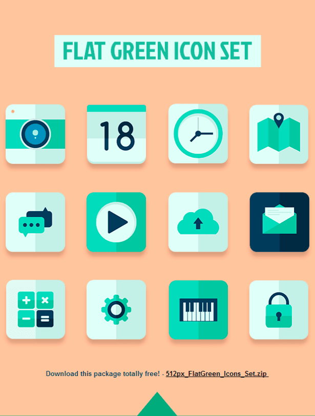 Flat Green Icon Set