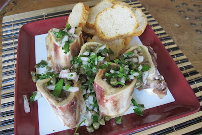 Recipe: Roasted bone marrow with parsley caper salad