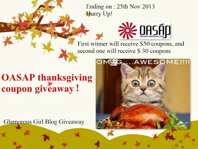 Oasap thanksgiving coupon giveaway (1st Winner 50$ and 2nd Winner 30$)