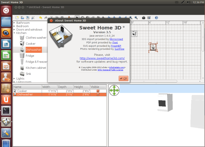 sweet home 3d updated to version 3 5 installation under ubuntu included. Black Bedroom Furniture Sets. Home Design Ideas