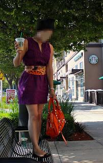 Banana Republic 100% linen dress, Purple ombre Prada flats, Mandarin Balenciaga, Hermès scarf Datejust Rolex, Starbucks White Mocha