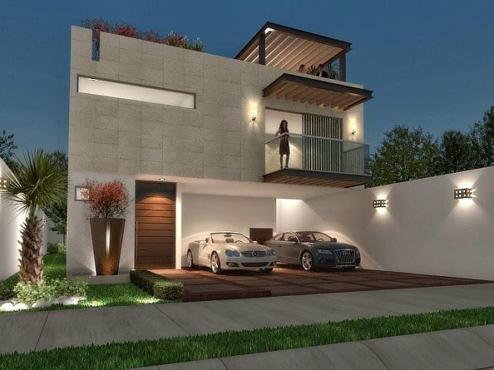 Fachadas minimalistas hermosa fachada minimalista con terraza for Pisos para cochera