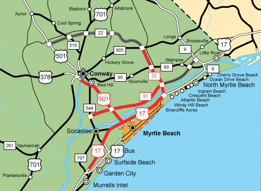 The Strand Myrtle Beach Map