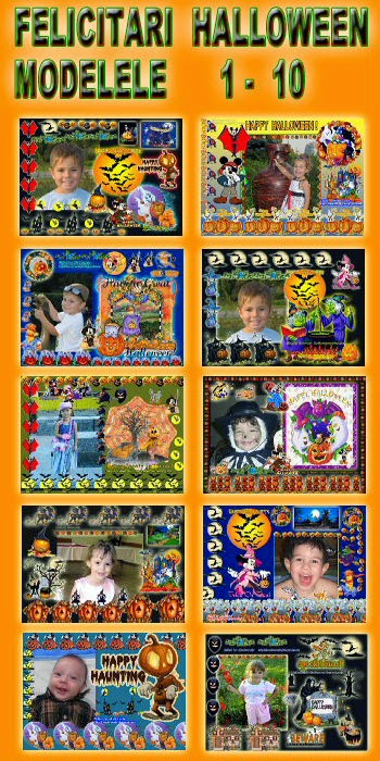 Felicitari  Halloween - Modelele  1 - 10