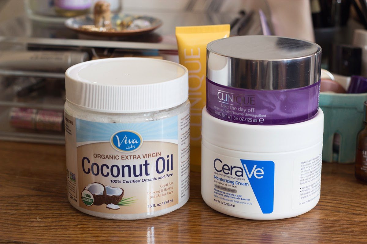 coconut oil, clinique take the day off cleansing balm, cerave moisturizing cream