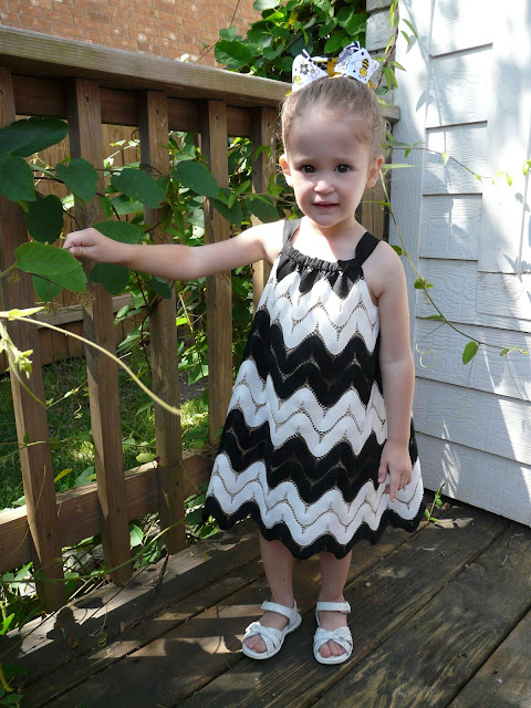 black and white chevron lace dress