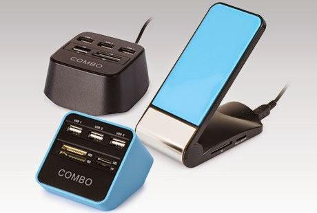 Akcesoria USB: podstawka pod telefon z funkcją ładowania, podkładka pod myszkę, podgrzewacz pod kubek, czytnik kart pamięci z Biedronki