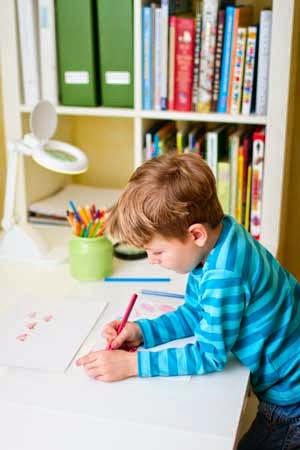 Kids organized desk space for homework