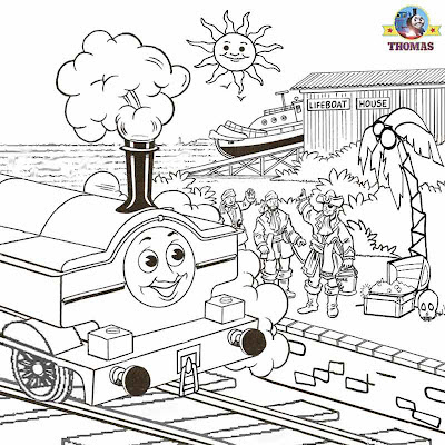 Thomas and friends Duck the tank engine train coloring pictures to color tropical pirates boat house