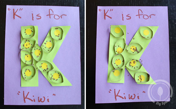 Toddler/Preshooler letter of the week craft K is for Kiwi with related craft, tracing sheets and fruits/vegetables.