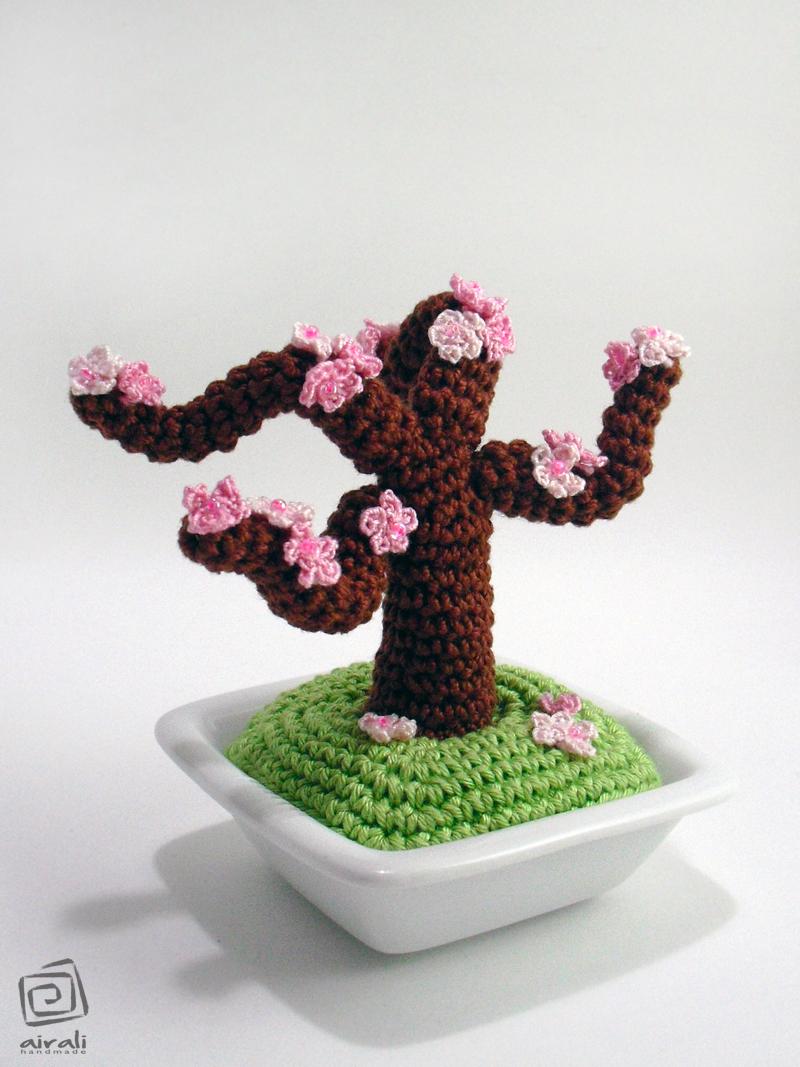 Pesco bonsai Amigurumi Pesco+ciliegio+bonsai+uncinetto+amigurumi+fiori+rosa