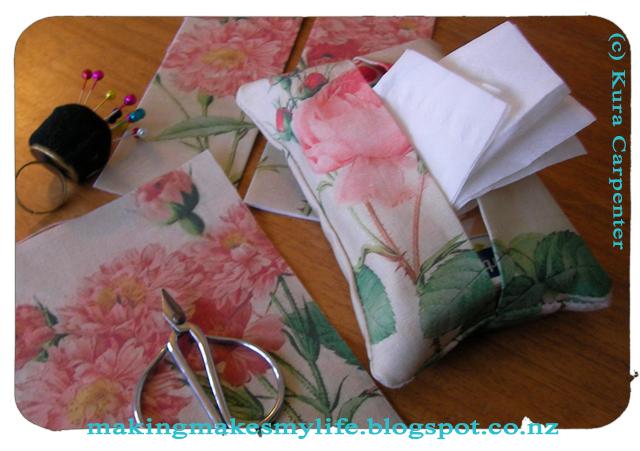 Antique Roses Fabric, Tissue Purse packs made by Kura Carpenter