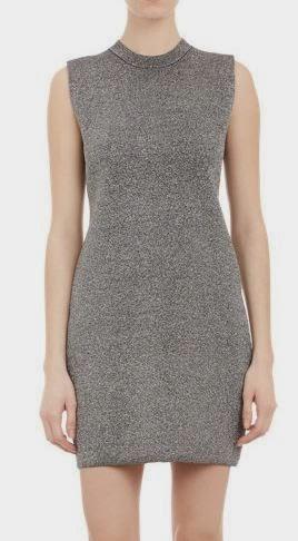 Metallic silver sweater dress