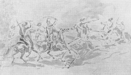 Кавалерийская схватка.  Сепия. 1830—32 г.