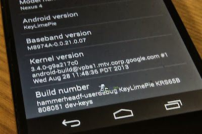 Android 4.4 KitKat running on the Google Nexus new