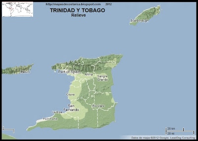 TRINIDAD Y TOBAGO, Mapa de Relieve de TRINIDAD Y TOBAGO, Google Maps 