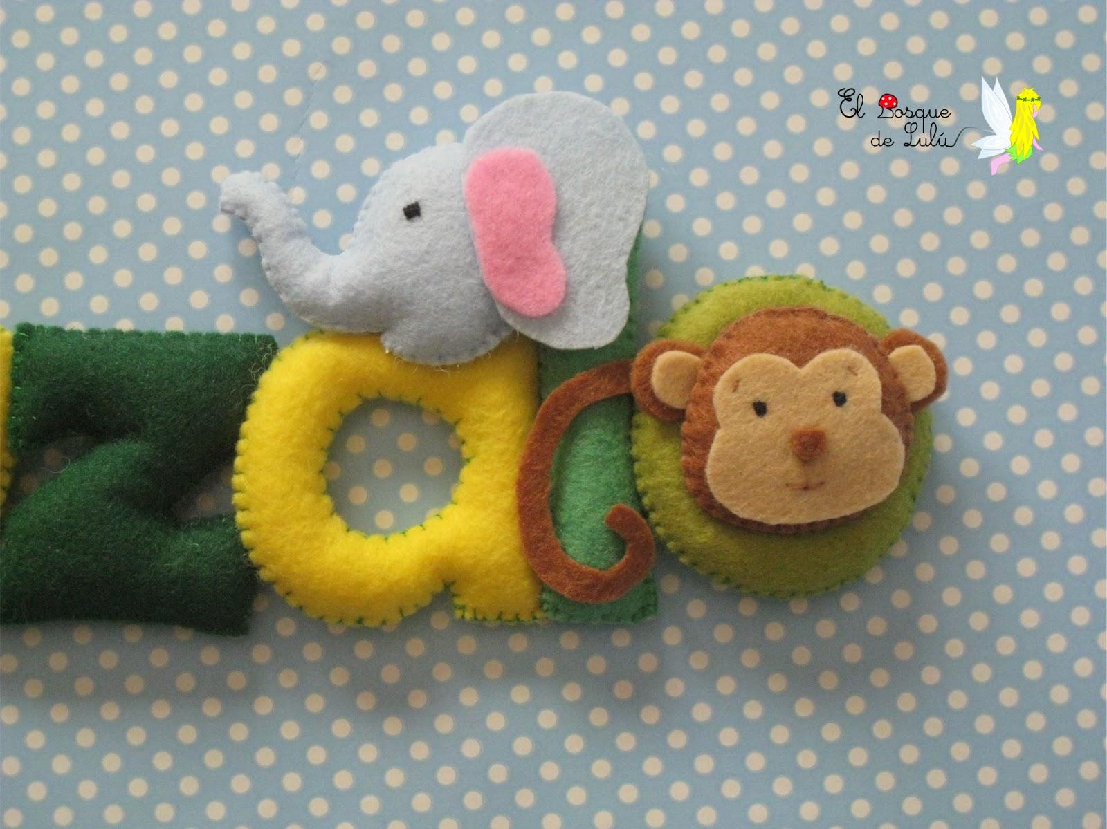 nombre-fieltro-animales-selva-Gonzalo-decoración-infantil
