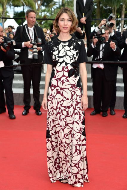 Sofia Coppola in a floral print Marc Jacobs dress at Cannes 2014