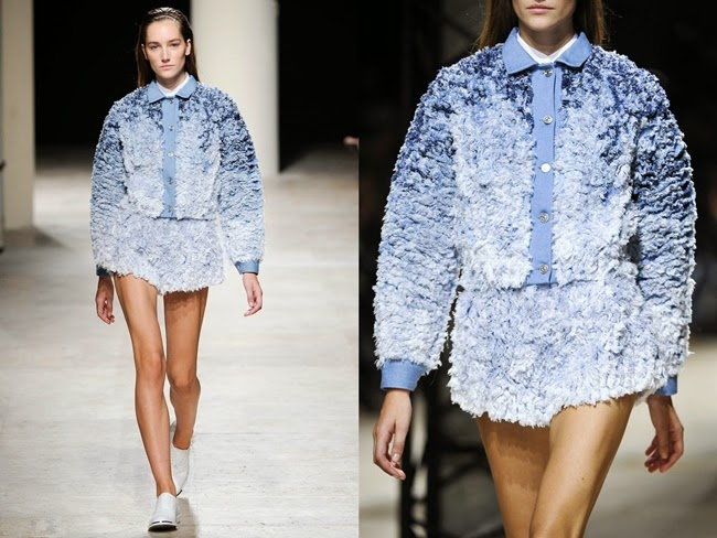 Barbara Bui 2014 SS Blue Ombre Shredded Fringed Shorts