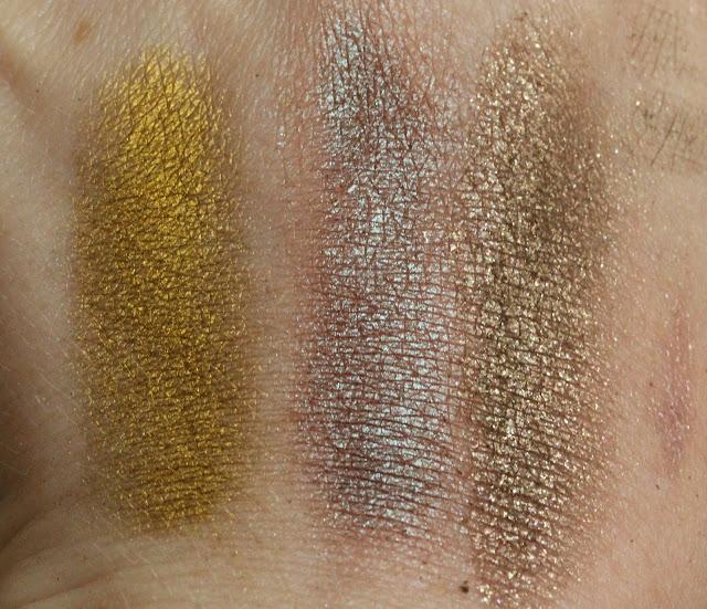 Makeup Geek pigments L-R Liquid Gold, Insomnia, Utopia