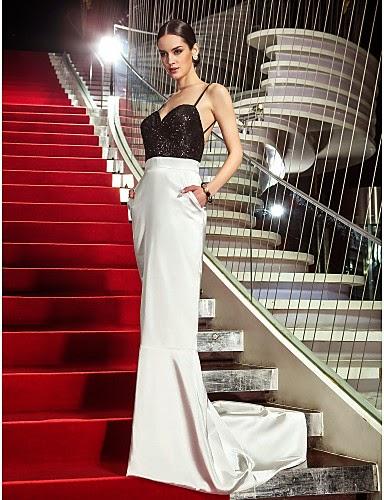 Vestido de Noche Blanco y Negro con Lentejuelas