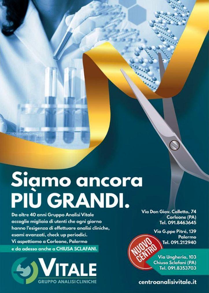 Nuovo Centro del Gruppo Analisi Cliniche VITALE a Chiusa Sclafani