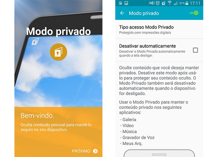 Modo Privado do smartphone Galaxy da Samsung