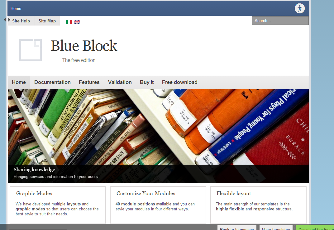 Blue Block Free Joomla Template