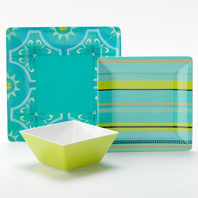 Entertaining is a breeze with this Bobby Flay Turquoise dinnerware collection. Featuring serene shades of turquoise aqua and lime green this collection is ... & Bobby Flay Outdoor Turquoise Dinnerware Collection | Everything ...